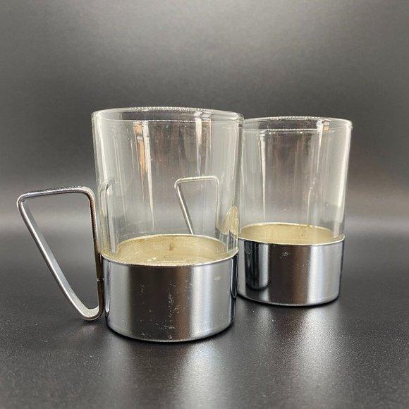 Vintage Glass Espresso cups w/ metal bases & handl